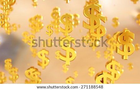 Dollar symbols with depth of field.  - stock photo