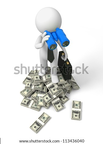Dollar/telescope/a businessman standing on bundles of dollars, carrying a telescope - stock photo