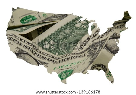 dollar texture overlayed on outline map of the usa - stock photo