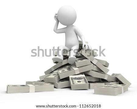 Dollar/think/a person sitting on  bundles of dollars, thinking - stock photo