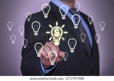 Dollar Touch Businessman Hand - stock photo