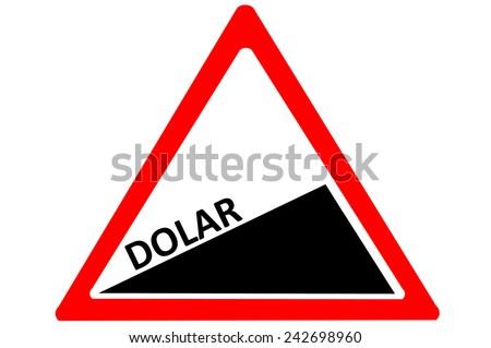 Dollar Turkish dolar value increasing warning road sign isolated on white background - stock photo
