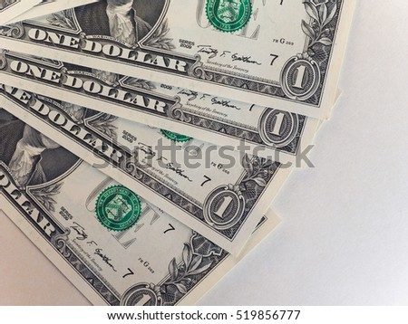 Dollar (USD) banknotes, currency of United States (USA) with copy space