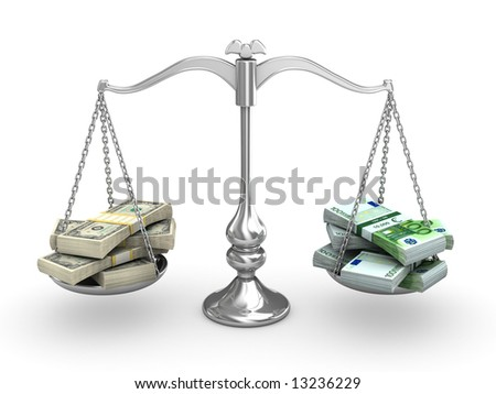 Dollar vs Euro - stock photo