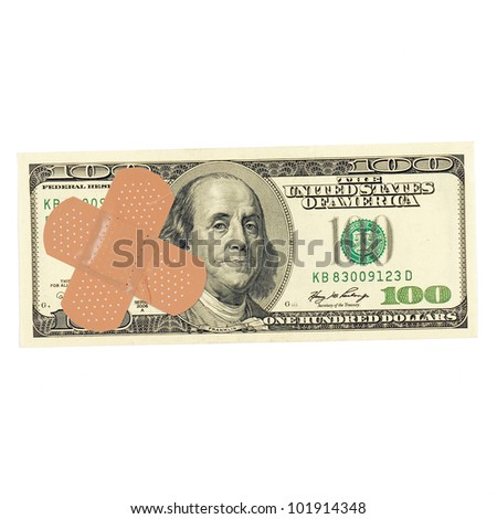 Dollar with a band-aid