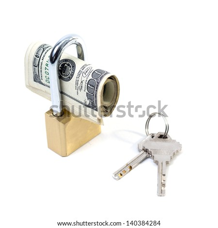 Dollar with a key lock isolated on white background - stock photo