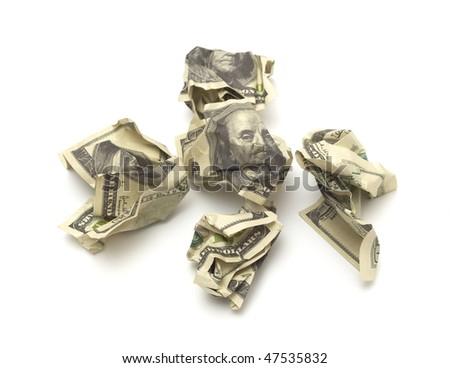 Dollars against isolated on white background - stock photo