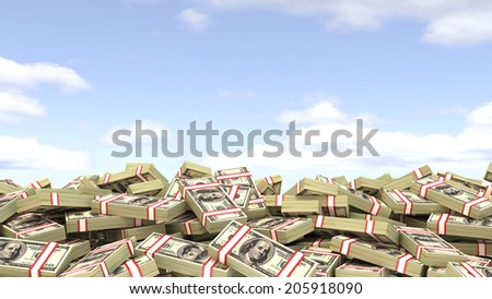 dollars against the sky. easy Money - stock photo