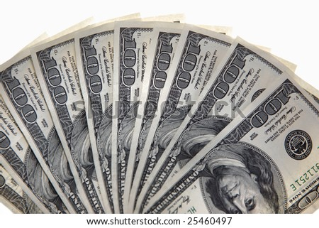 Dollars against white background