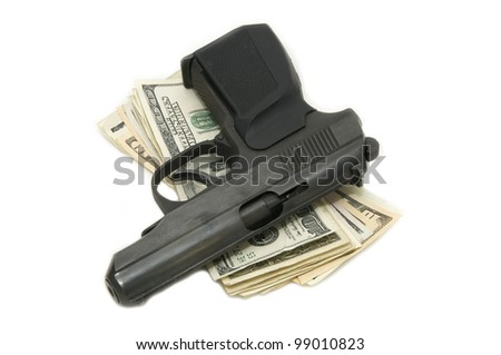 dollars and a gun on a white background