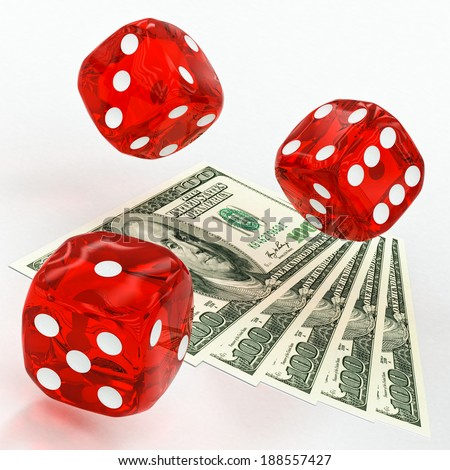 dollars and dice on a white background