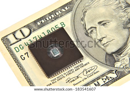 Dollars and electronic chip. The concept of electronic money