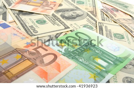 dollars and euro  background - stock photo