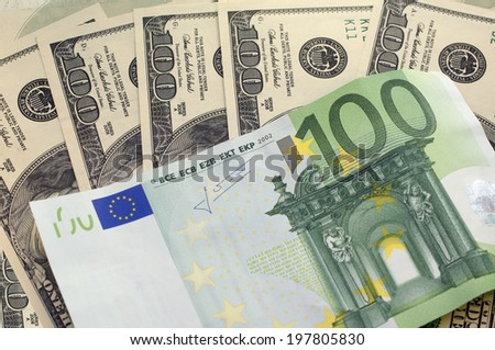 Dollars and euro for a background  - stock photo
