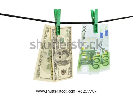 Dollars and euro hanging on a string isolated on a white. - stock photo