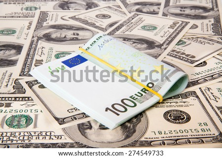 dollars and euro isolated on white background.