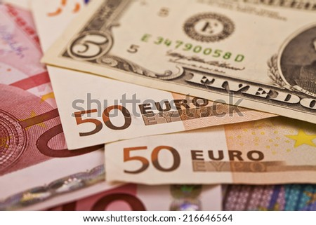 dollars and euros. Background and texture