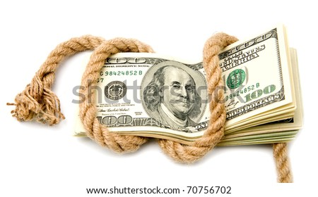 dollars and rope on a white background - stock photo
