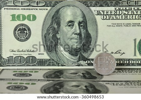 Dollars and rubles. The bills and coins