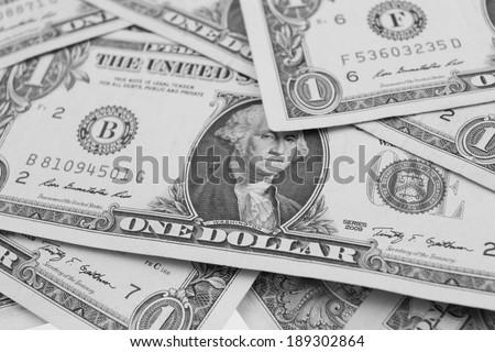 dollars background, Black and white image - stock photo