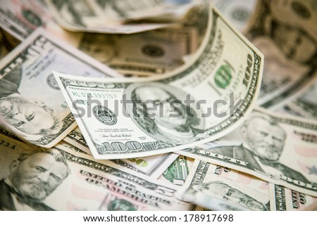 Dollars background - macro shot - stock photo