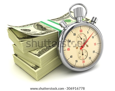 Dollars banknotes and stopwatch isolated on white background, 3d illustration - stock photo