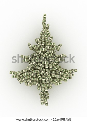 Dollars banknotes made as Christmas tree on blue background - stock photo