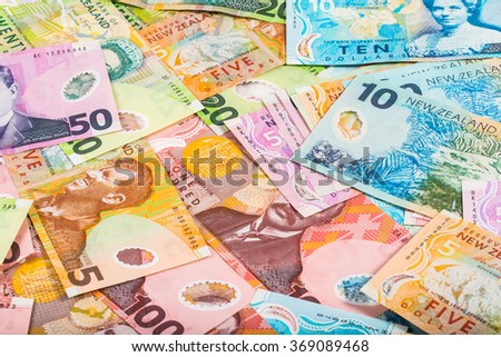 dollars bill in New Zealand currency background - stock photo