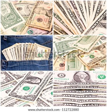 Dollars bills in collage - stock photo