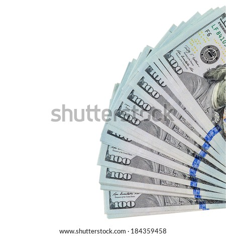 Dollars bills isolated on white background