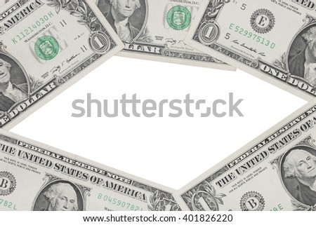 Dollars bills, on white background. - stock photo