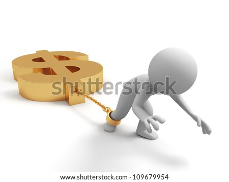 dollars/burden/ crisis/A people dragging a dollar sign - stock photo