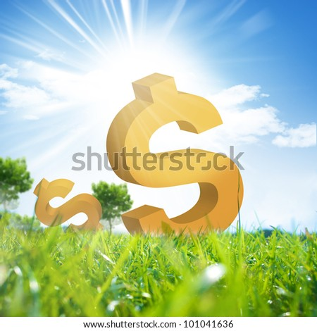 Dollars currency model on green