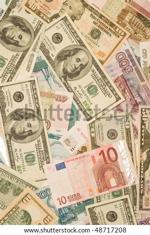 Dollars, euros, russian roubles - Money of the world