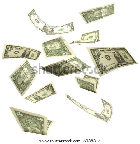 dollars fall isolated on white background 2 - stock photo
