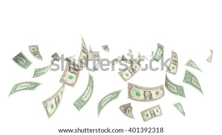 dollars falling background, 3d rendering