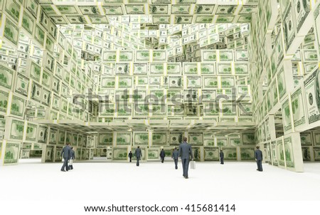 Dollars Financial Center (3D illustration) - stock photo