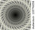 Dollars flow in black hole, 3d illustration. - stock photo