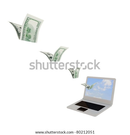 Dollars flying through laptop screen. 3d rendered. Isolated on white background. - stock photo