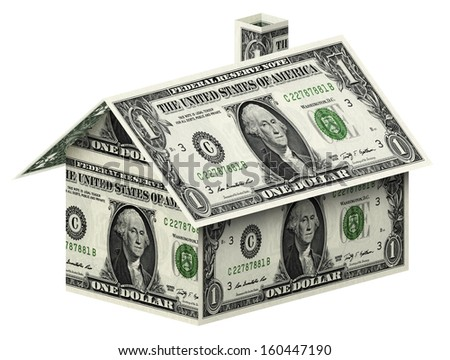 Dollars house  on white background isolated on white with clipping path - stock photo