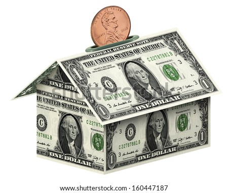 Dollars house  on white background  the concept of accumulation money  isolated on white with clipping path