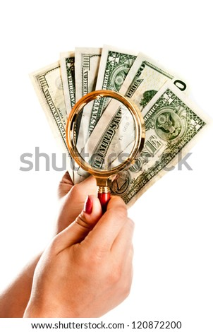 dollars in a hand isolated on a white background