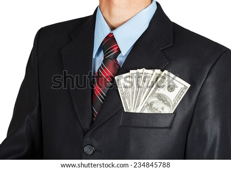 Dollars in businessman suit pocket on white background - stock photo