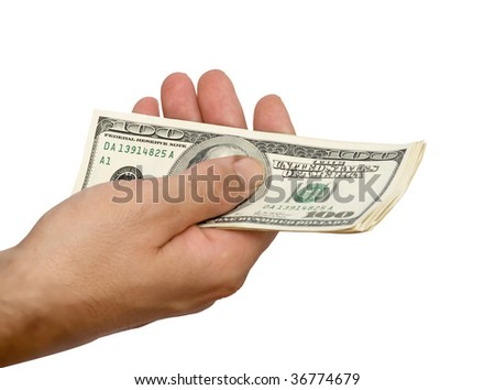 Dollars in hand - stock photo