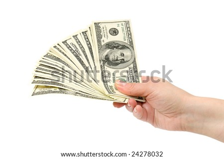 dollars in hand isolated on a white background - stock photo