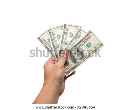 dollars in hand isolated on a white background