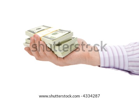 Dollars in hand isolated on white background