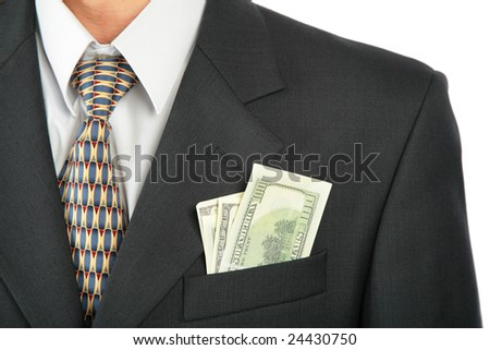 Dollars in pocket of coat