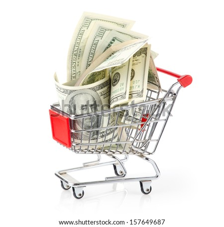 Dollars in Shopping Cart Isolated On White Background