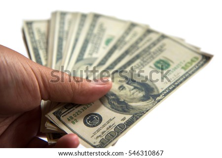 dollars in the hands on a white background